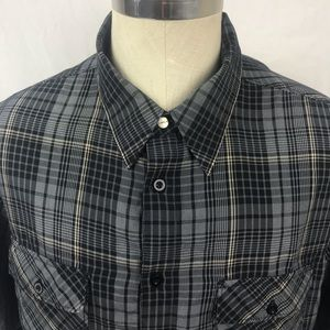Hurley black plaid short sleeve button front shirt